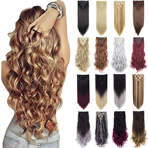 23-24 Inch Double Weft Full Head Clip In Hair Extensions