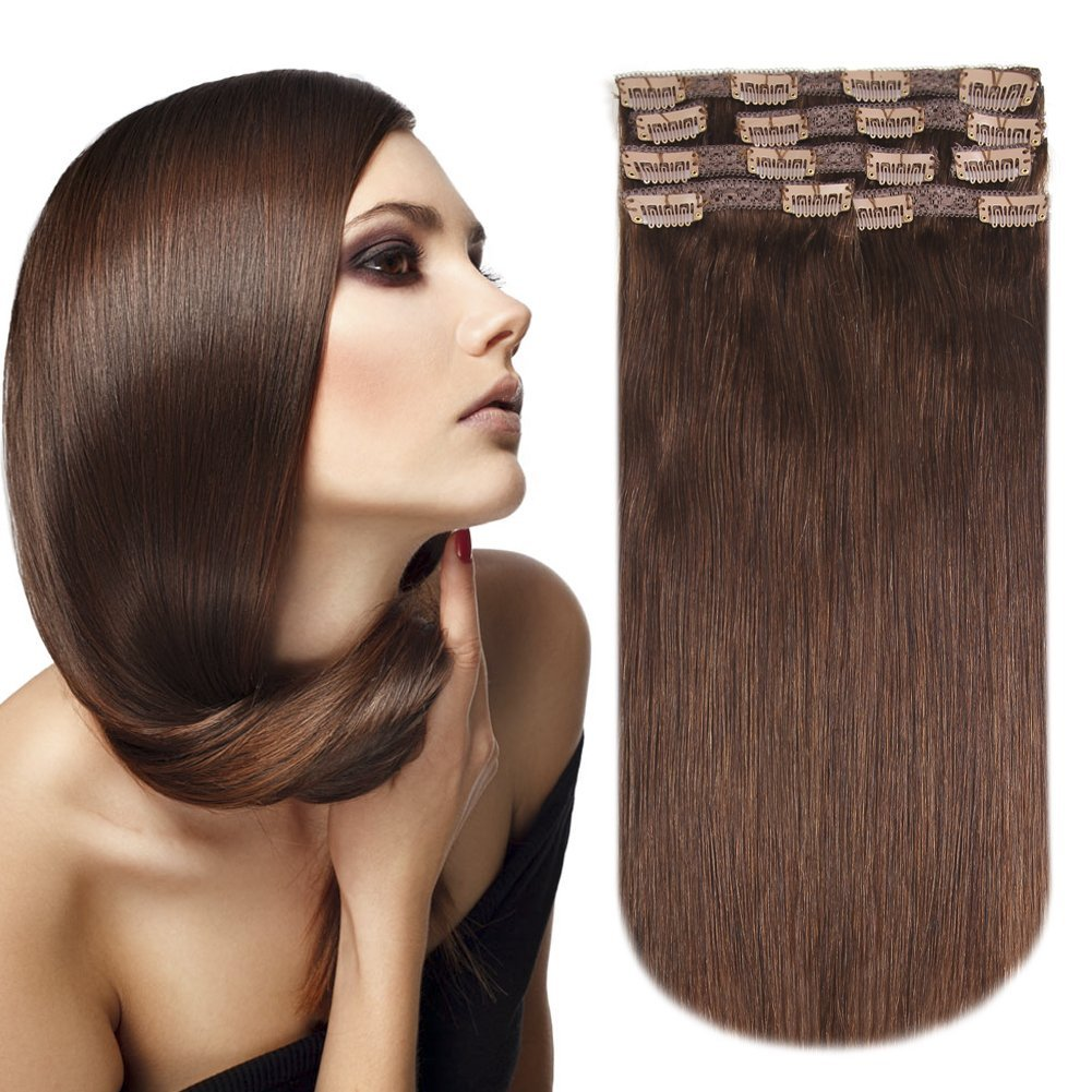 Clip in Hair Extensions Double Weft Remy Straight Medium Brown